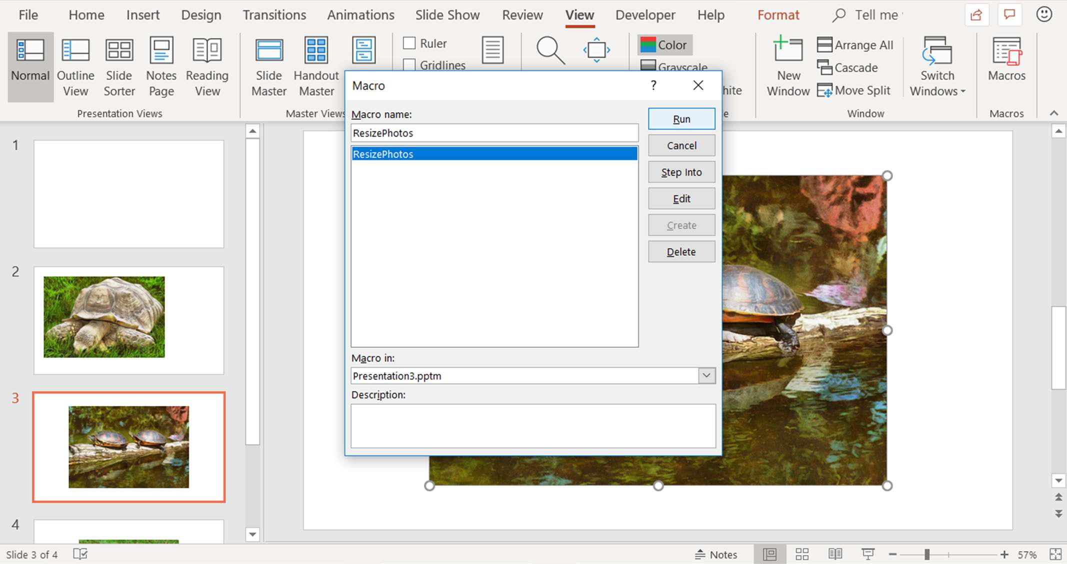 A screenshot showing how to run a macro in PowerPoint