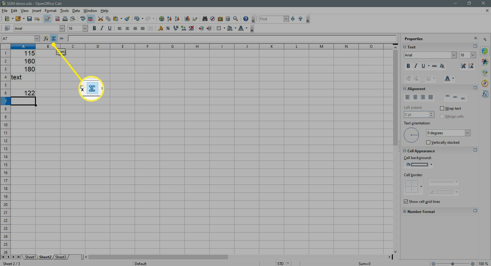 The Sum button is highlighted in OpenOffice Calc.