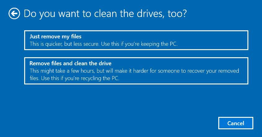 screen to choose to clean drives