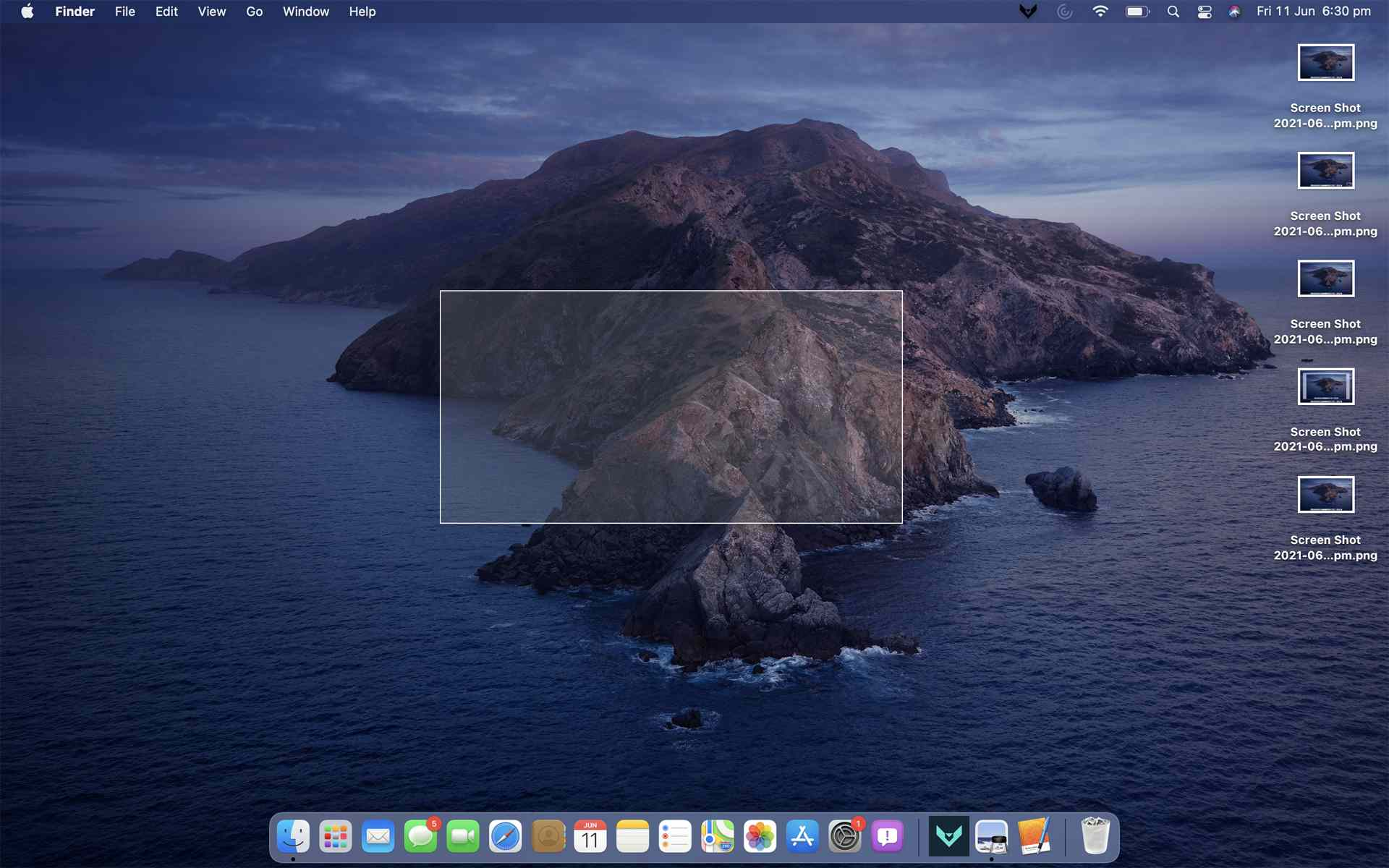 A screenshot being selected and taken on a MacBook Air.