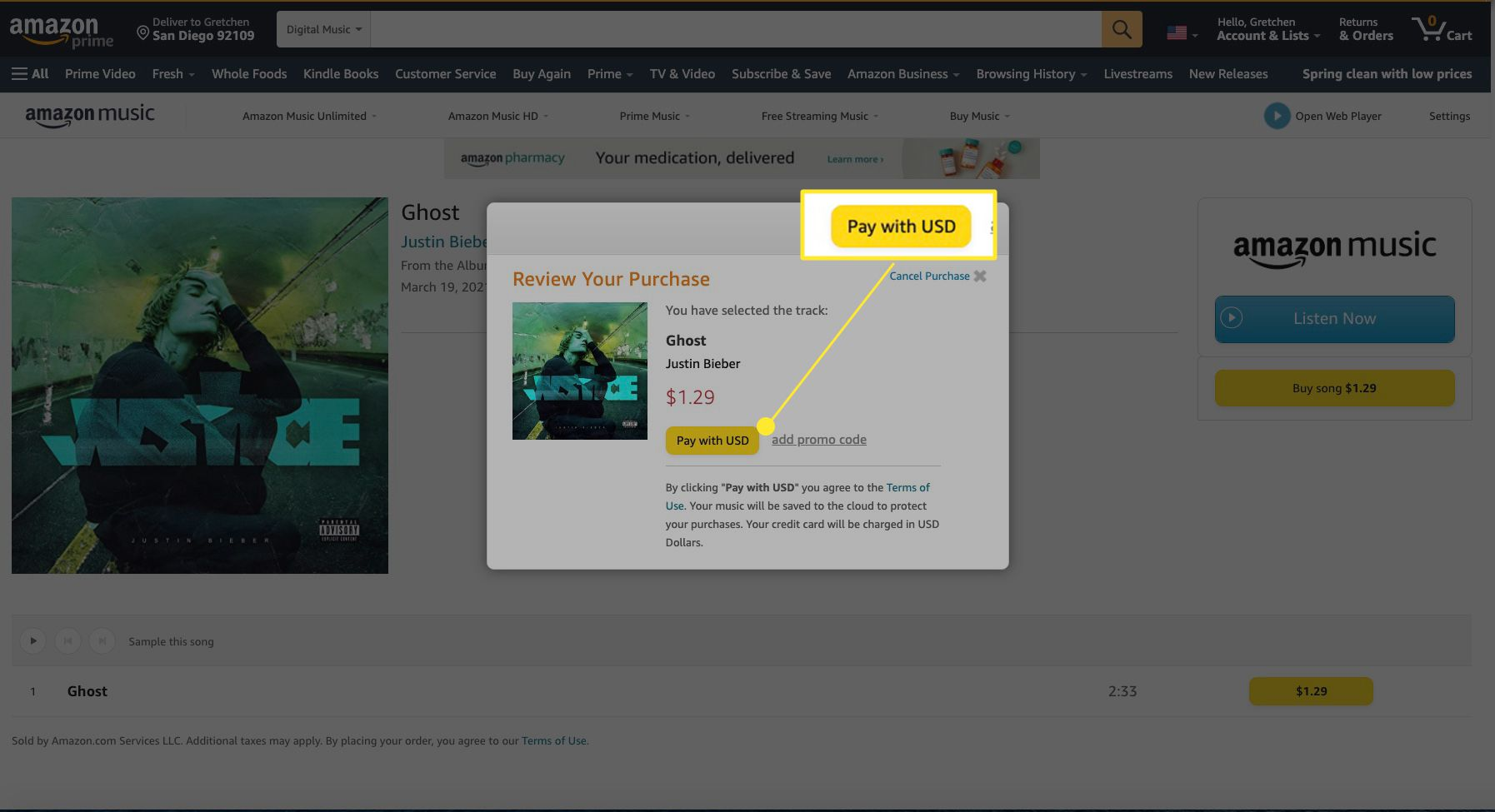 Amazon Music song purchase with Pay With USD highlighted