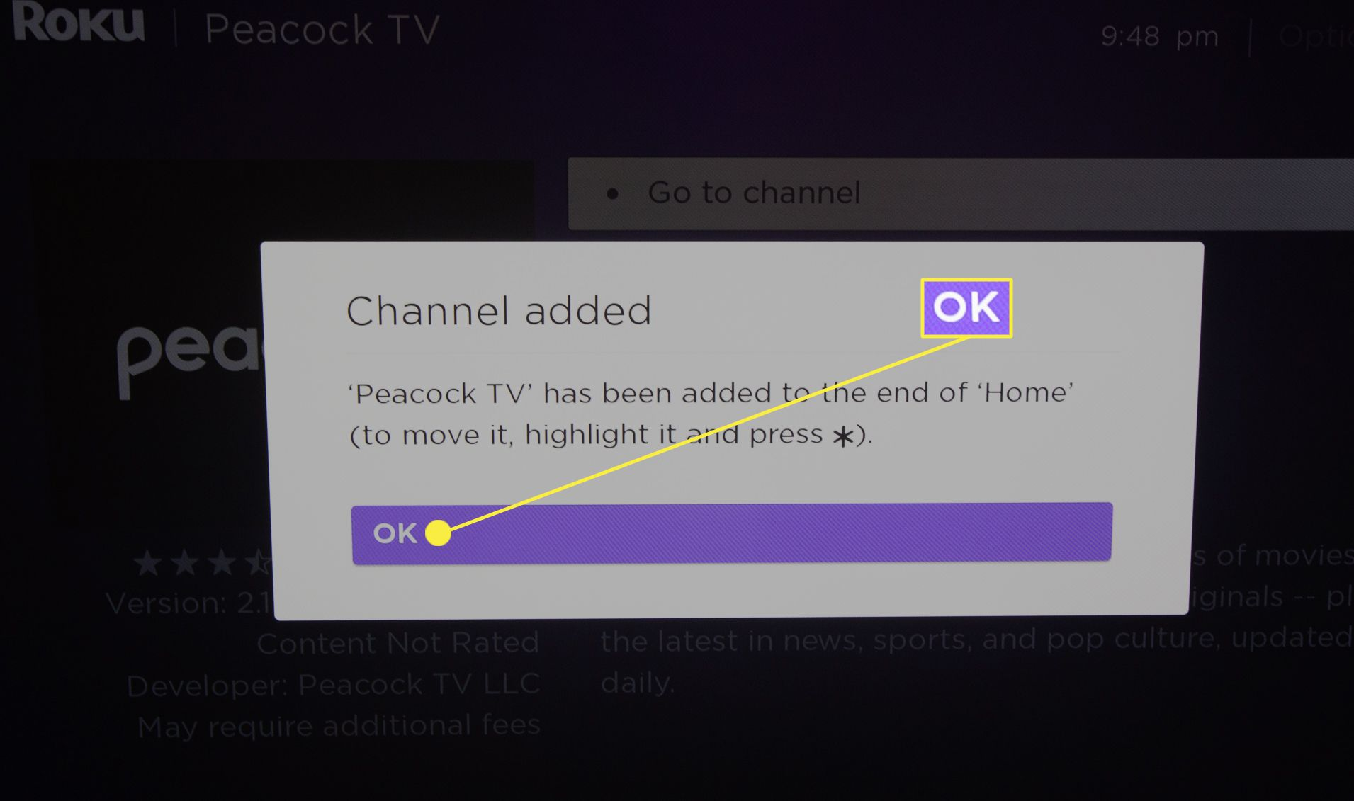 Highlighted OK button confirming Peacock app download on Roku TV