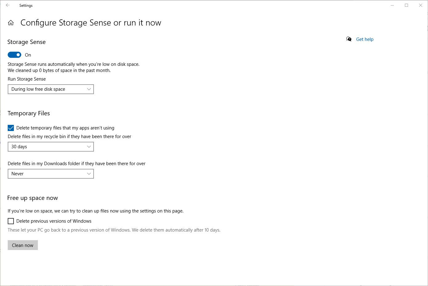 Screenshot of setting up Storage Sense