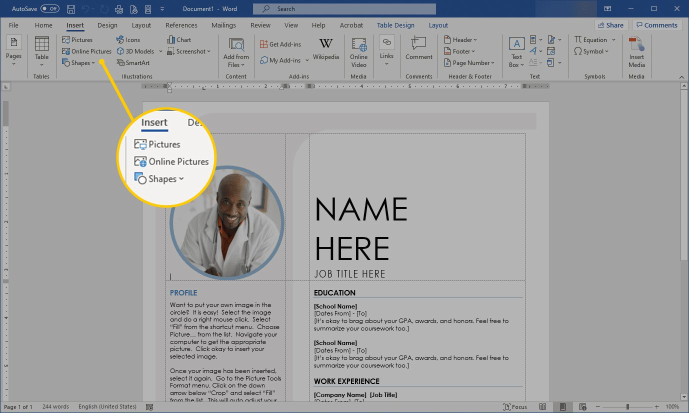 Insert Pictures options in Word