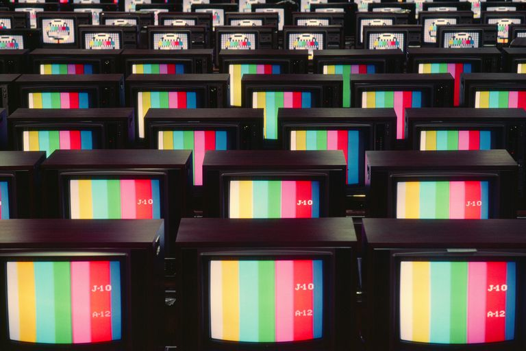 Color analog television sets showing color stripes