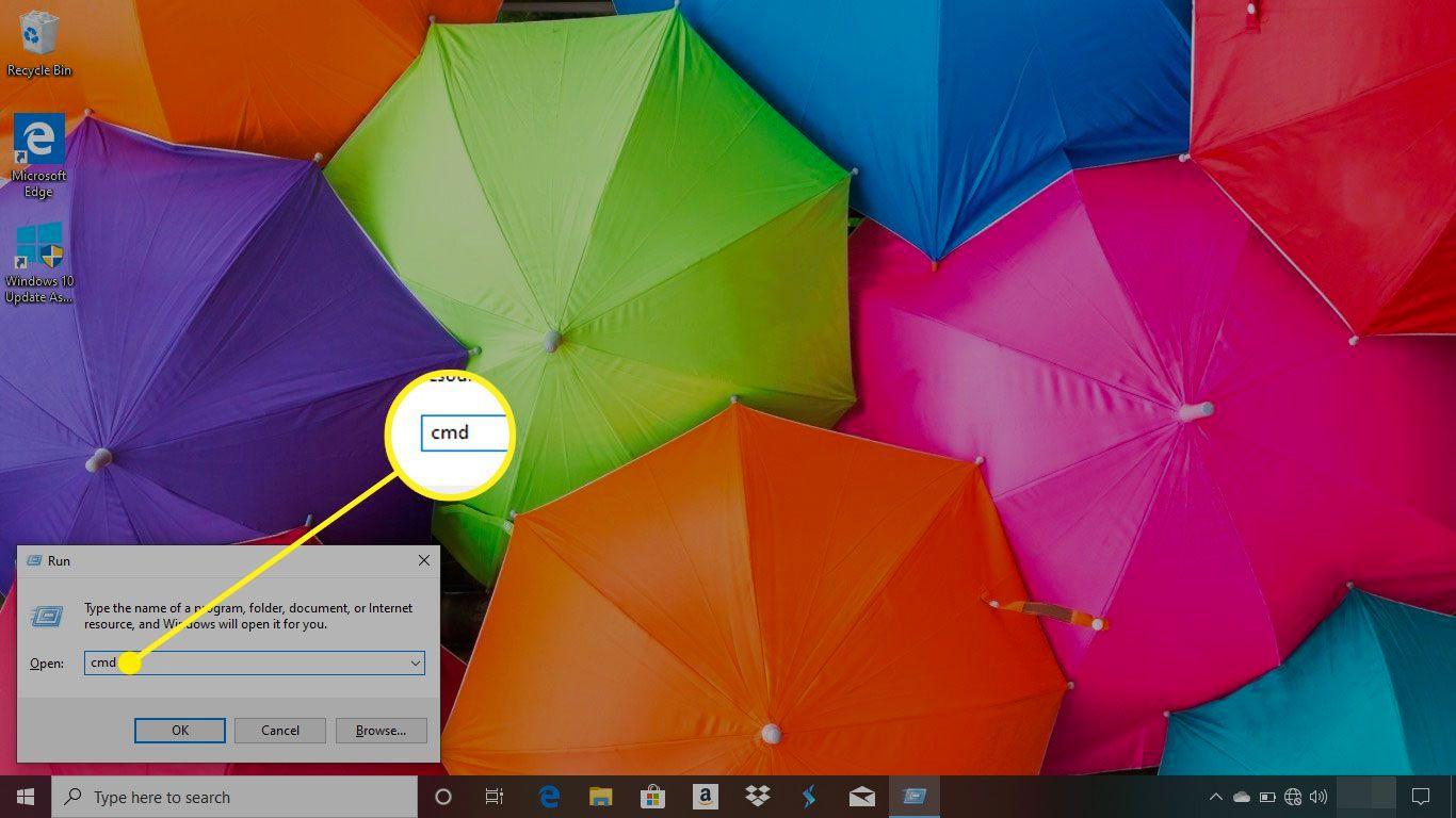 Windows desktop showing cmd in the Open field