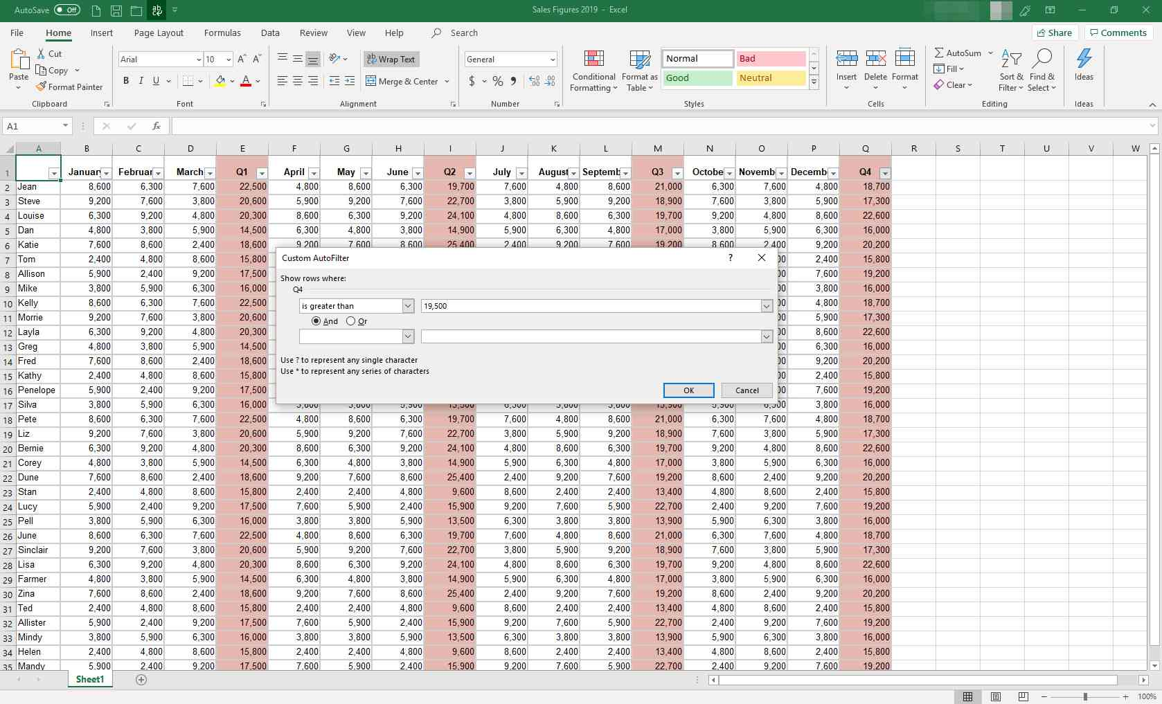 MS Excel with Custom AutoFilter dialog box displayed