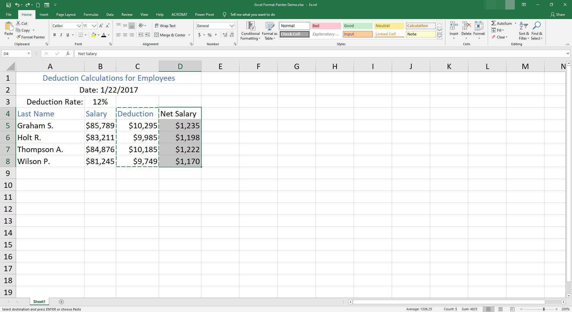 Cells D4 through D8 are selected in Excel.