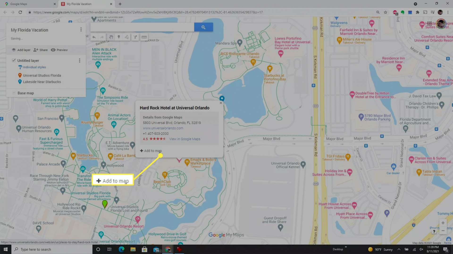 Adding an existing location as a pin to a custom Google Maps map.