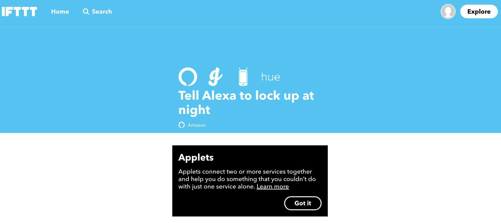 Screenshot of IFTTT App that tells Alexa to lock up at night.