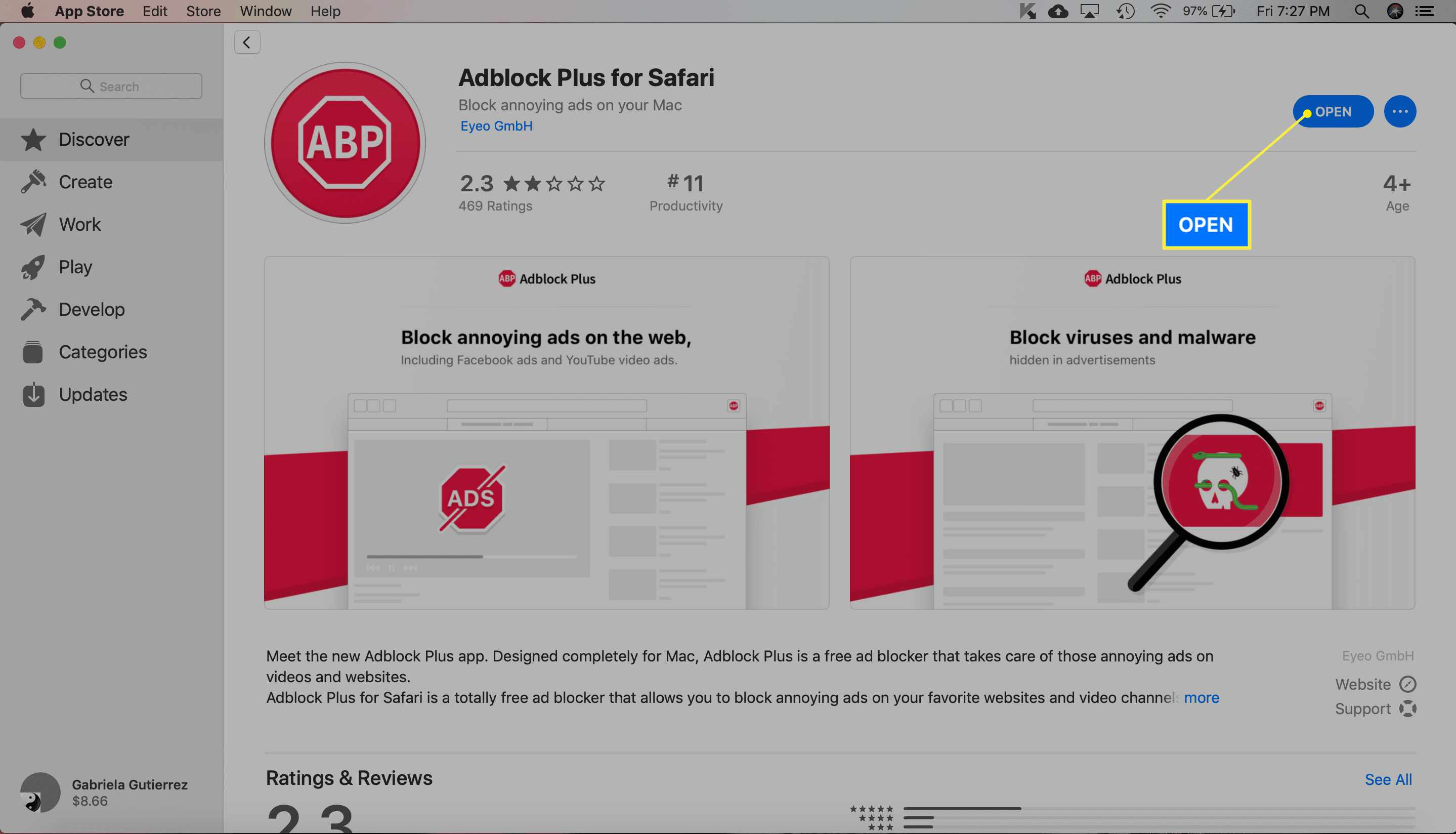 Adblock Plus extension with Open highlighted