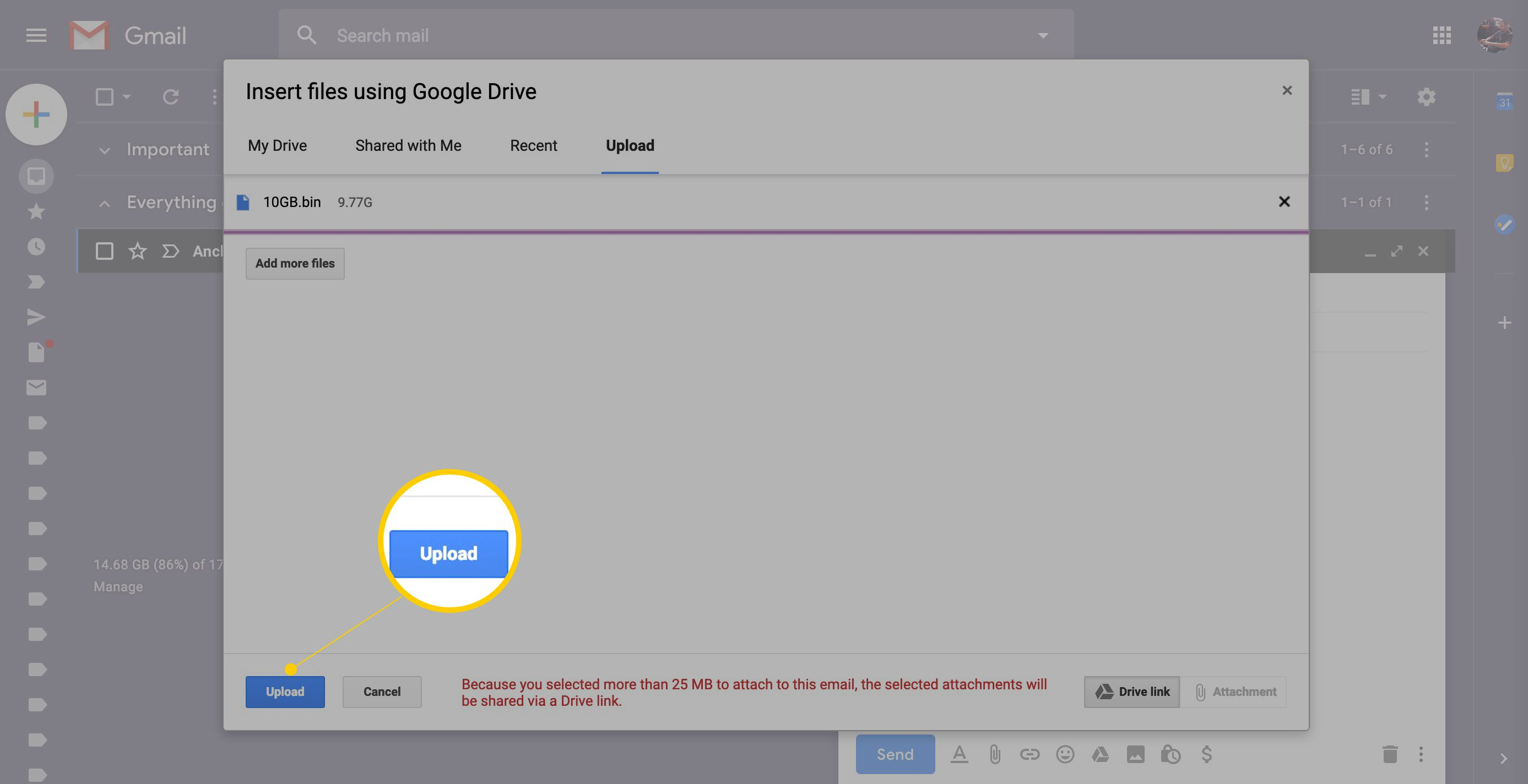 Email link to document on shared drive