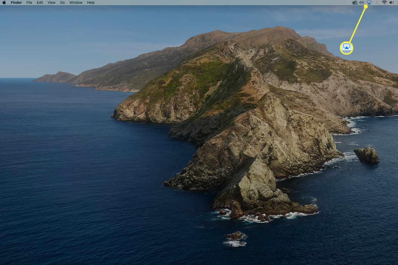 Blue AirPlay status icon on macOS menu bar.