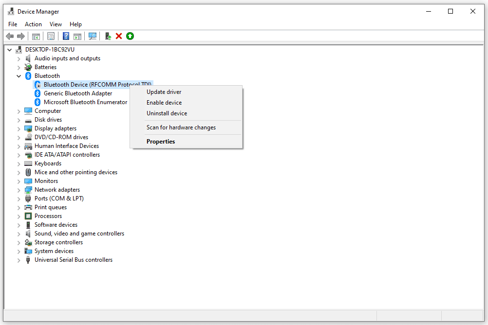 Device Manager context menu options