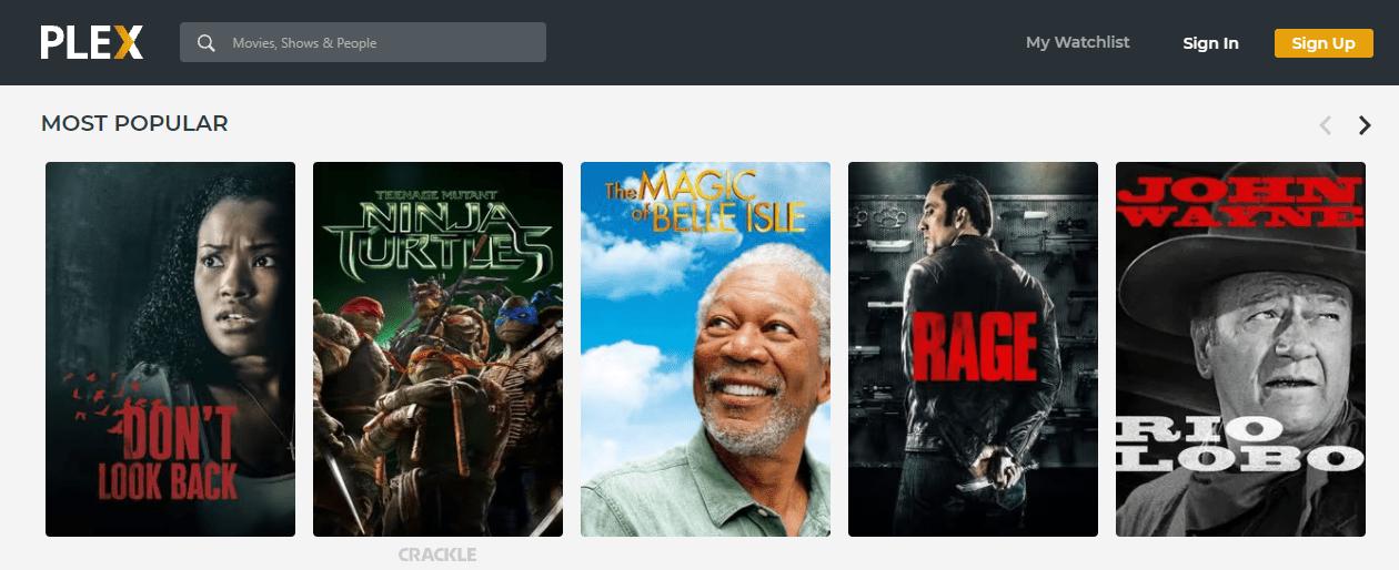 Most popular free movies on Plex