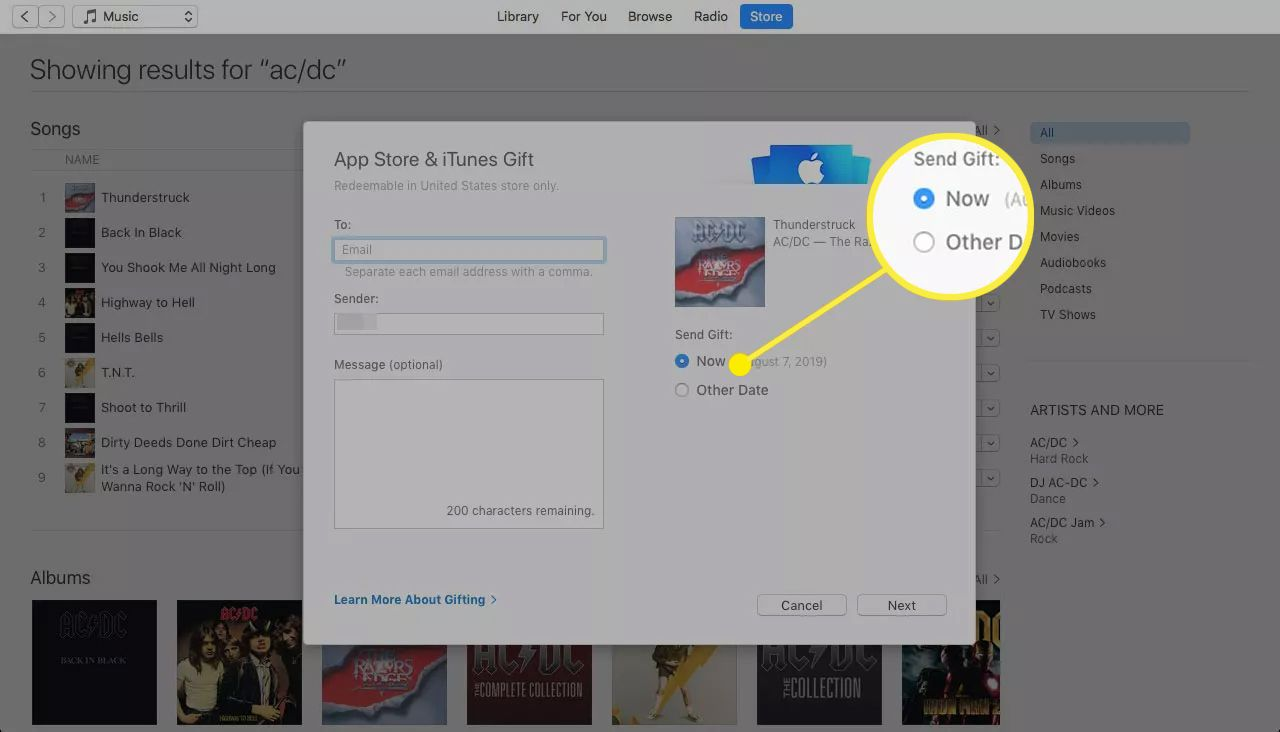 App Store Gift screen with delivery timing options highlighted