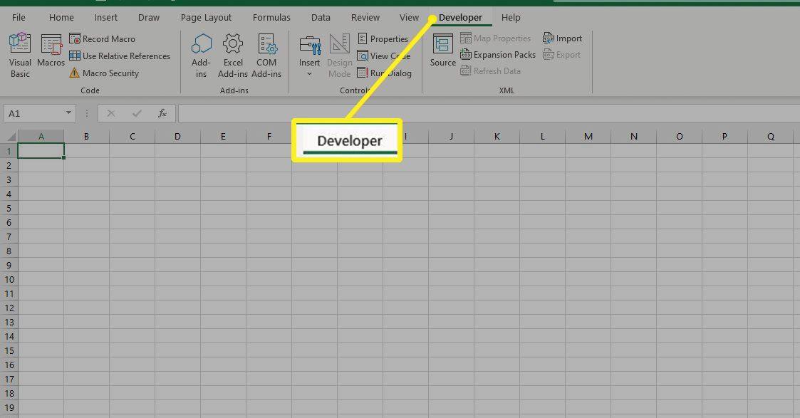 Developer tab in Excel