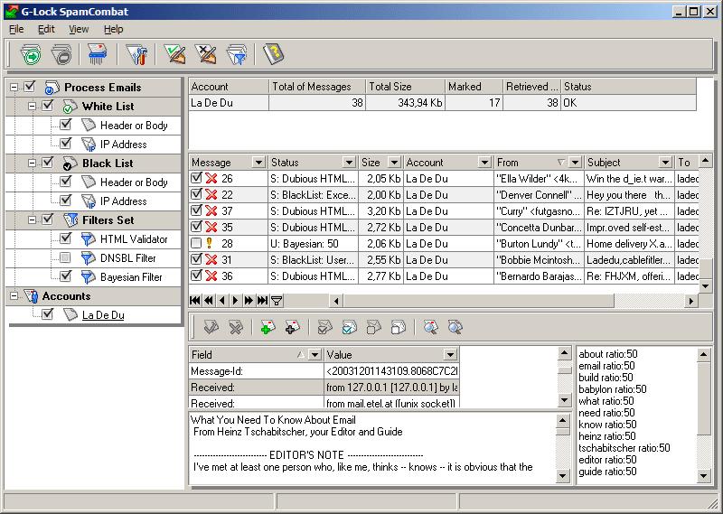 Screenshot of G-Lock SpamCombat software