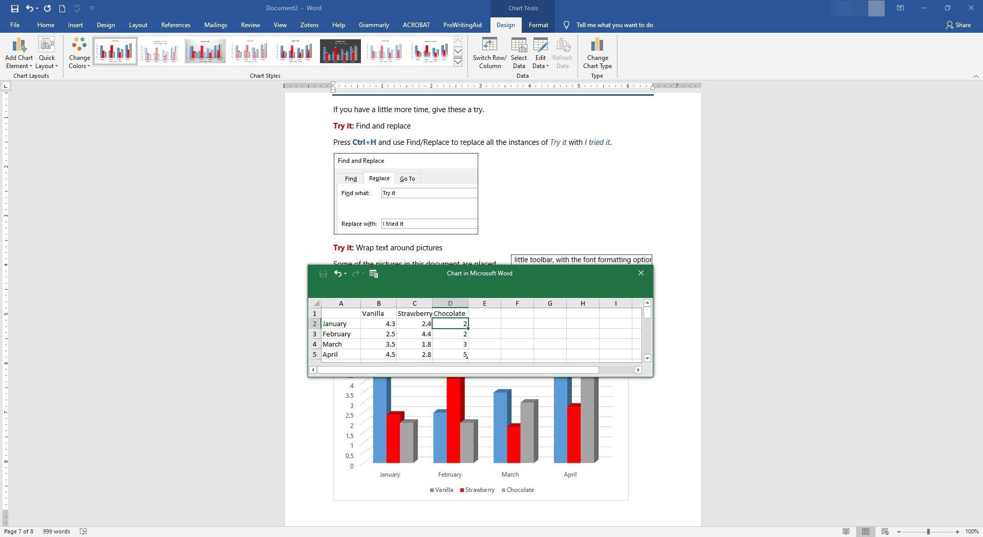Data has been entered into a chart in Microsoft Word.