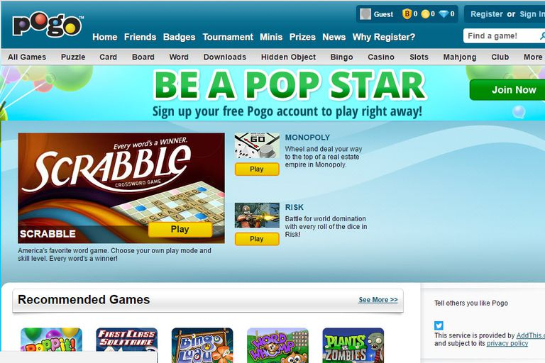 screenshot of pogo.com