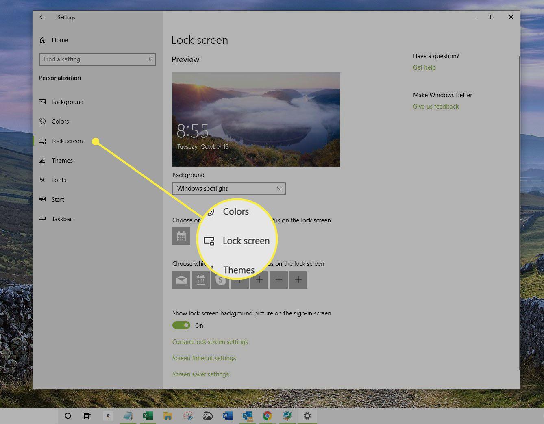 Lock Screen window