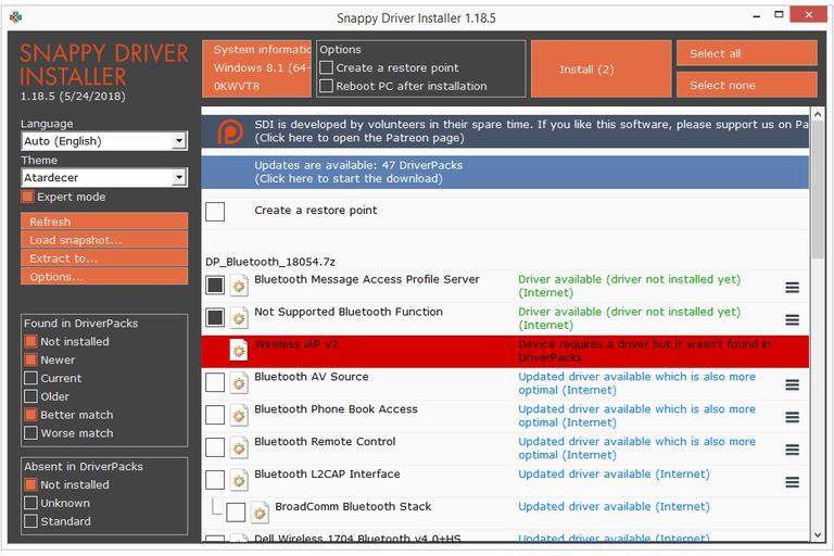 Screenshot Of Sny Driver Installer V1 18 5 In Windows 8