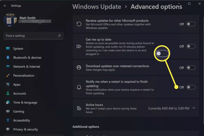 Notification toggle in Windows Update's Advanced options