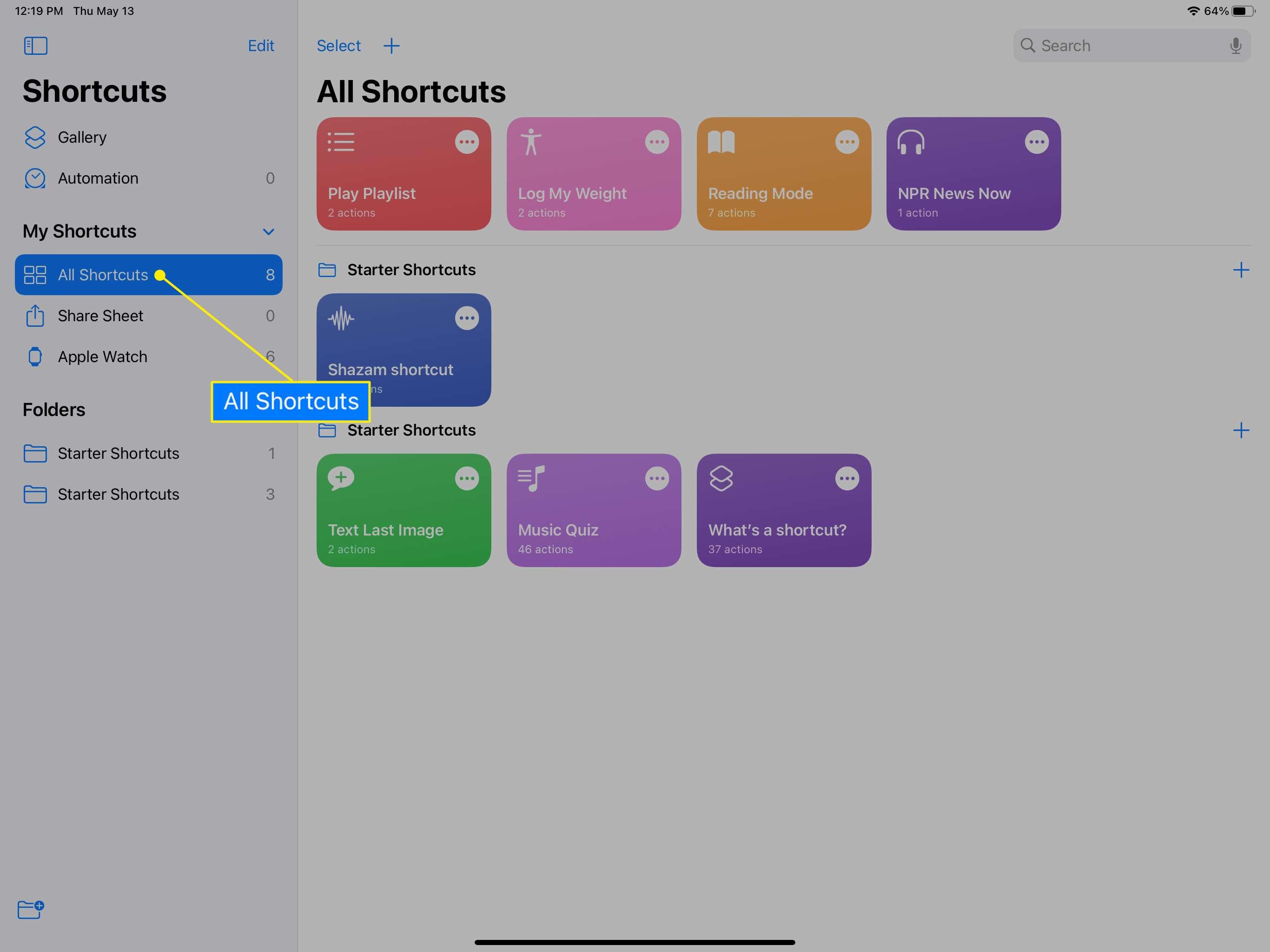 Shortcuts app on iPad