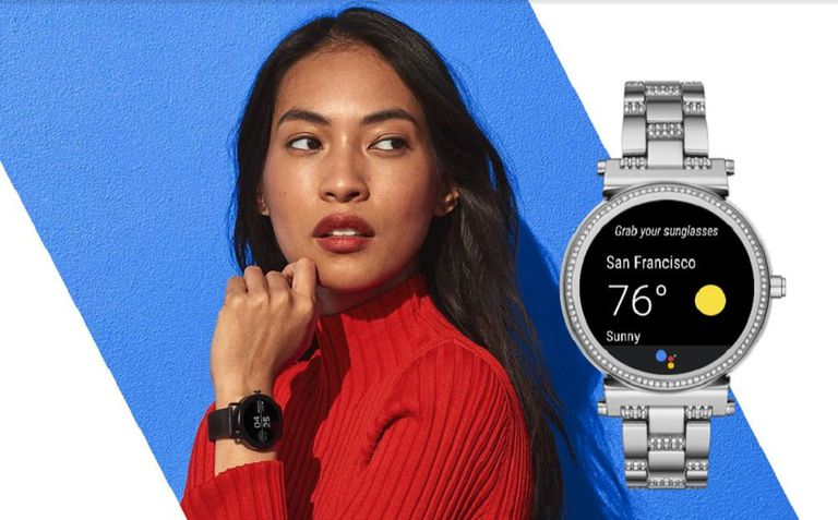 Woman wearing Wear OS smartwatch.