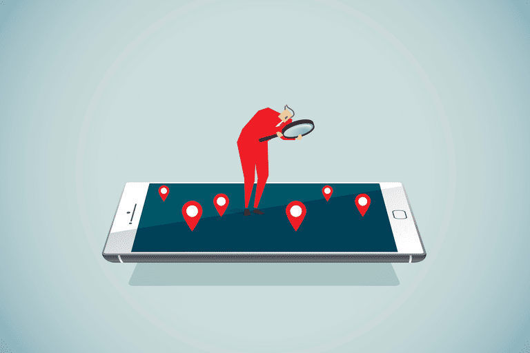 Illustration of a man locating something on a large phone