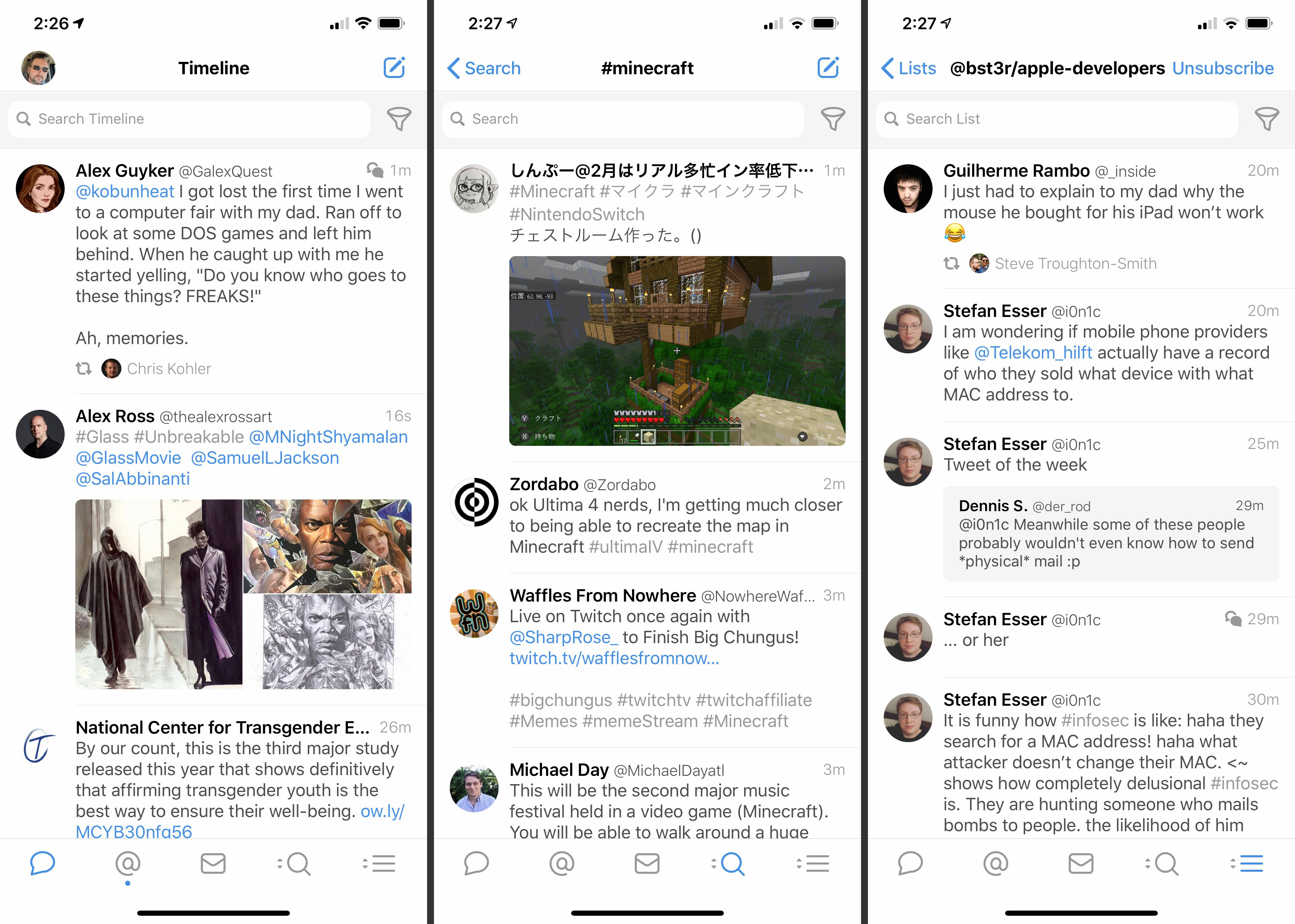 Three iOS Twitter screens