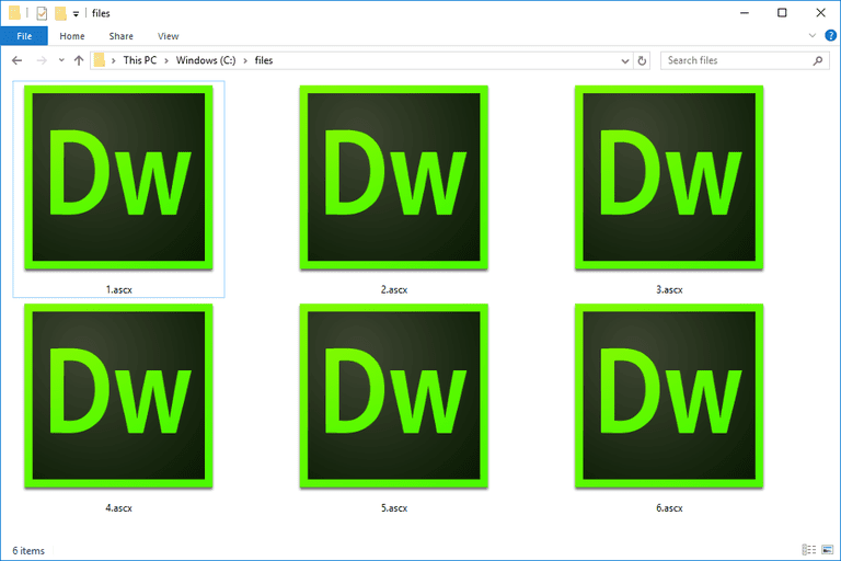 ASCX files in Windows 10 used with Adobe Dreamweaver