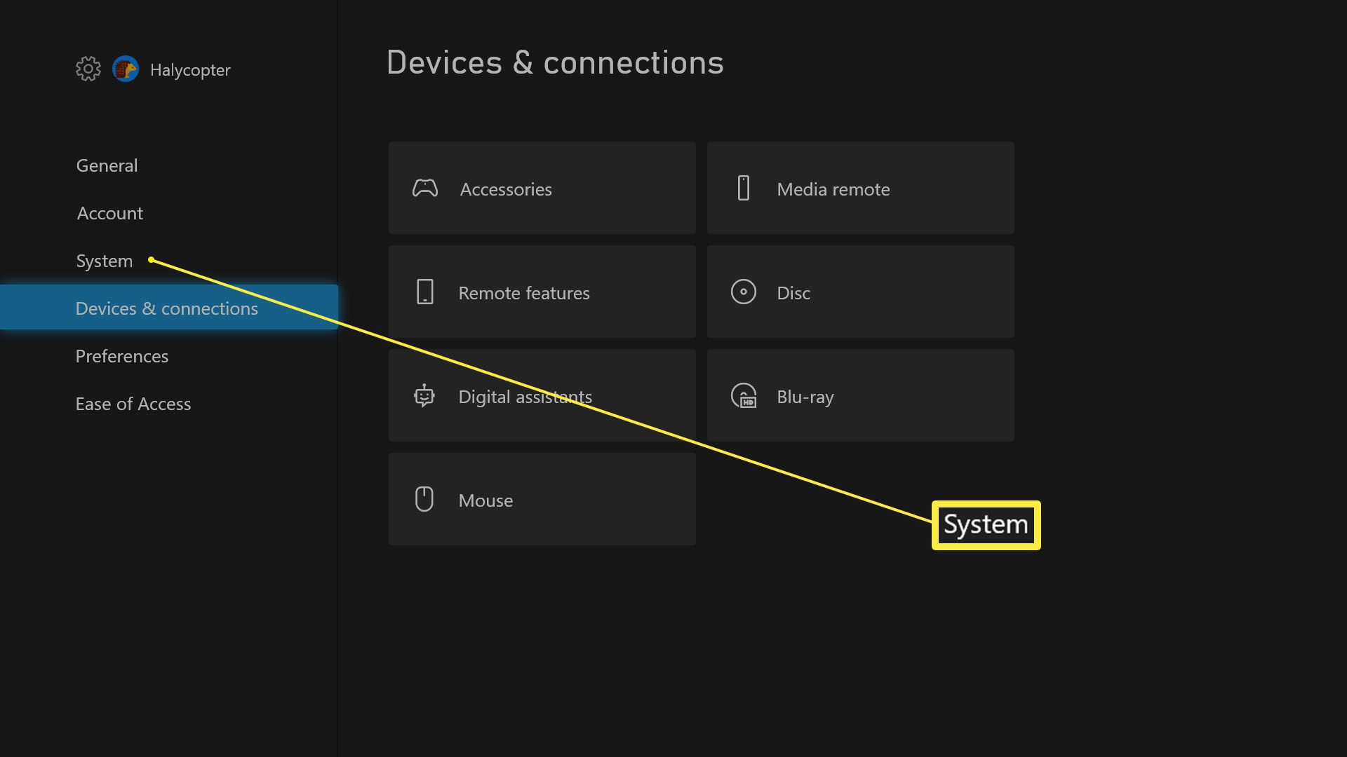 Xbox Series X Settings with System options highlighted