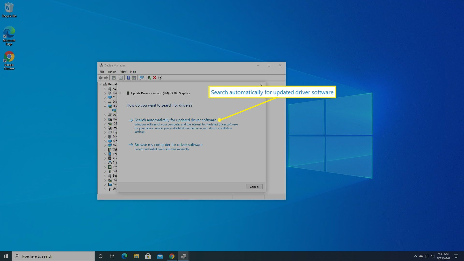 Windows asks if it should update the graphics driver