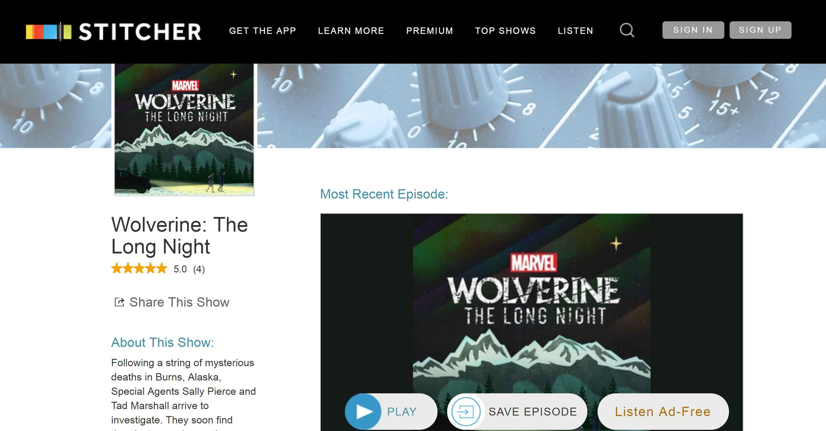 PC screenshot of Stitcher app showing list of podcasts