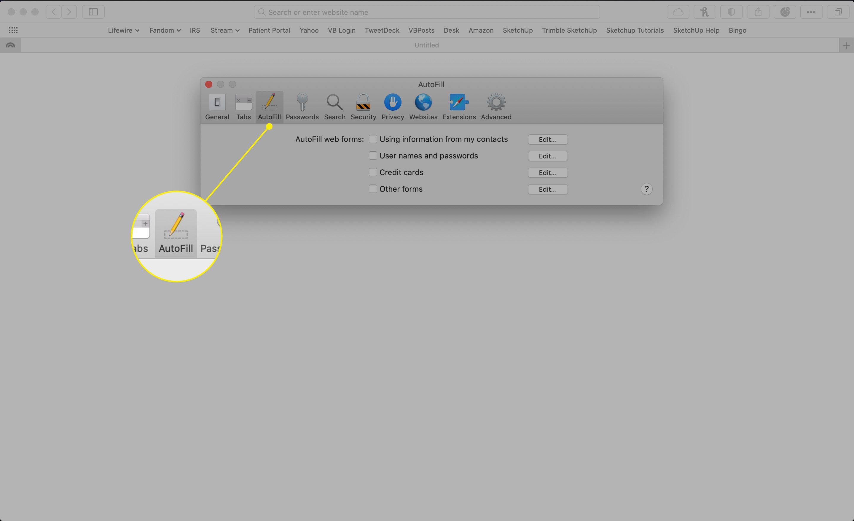 The AutoFill tab in Safari preferences
