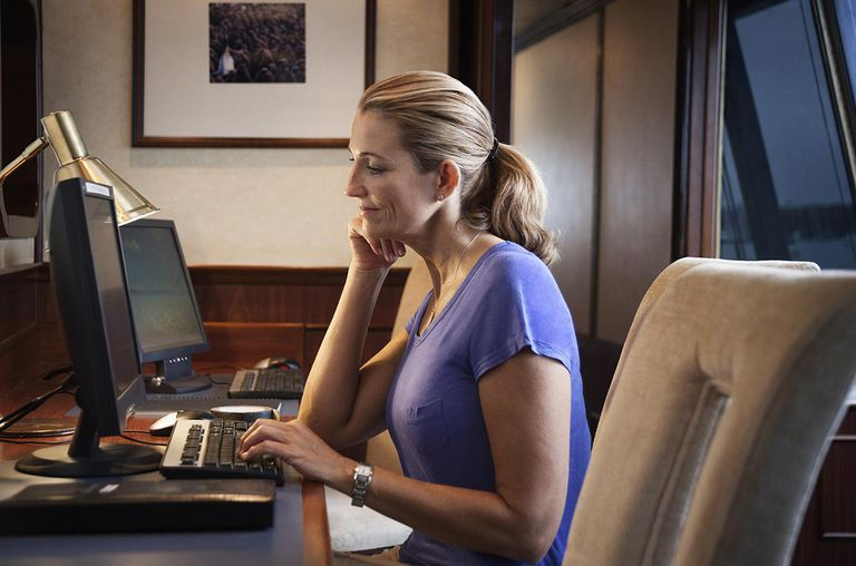 Woman with desktop computer