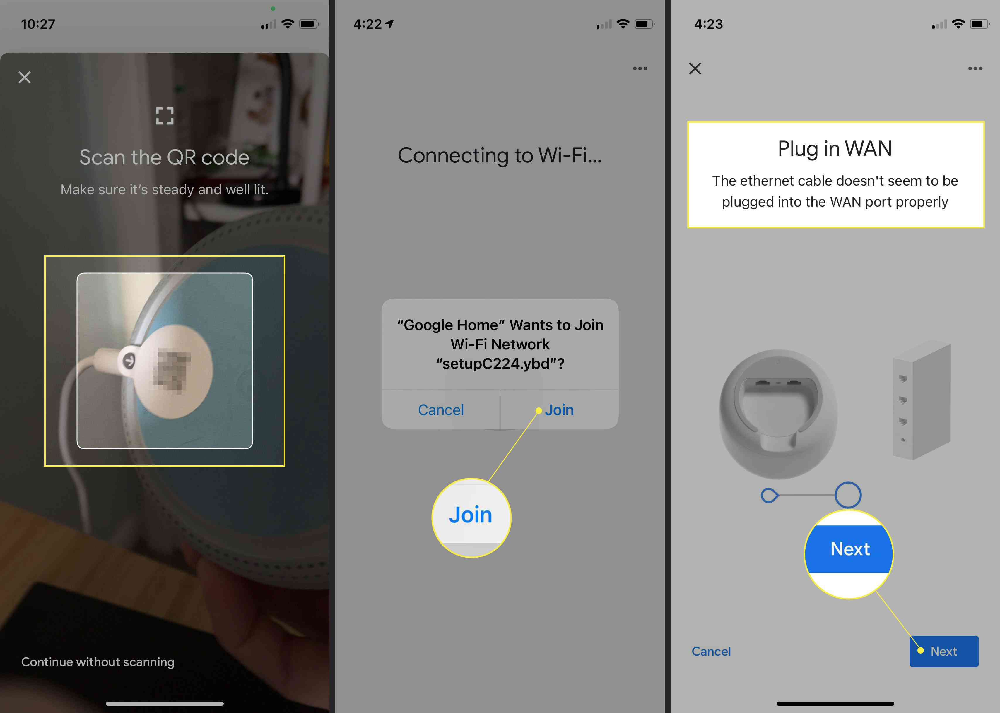 Steps to add Google Nest system to your modem in Google Home app with QR Code, Join, and Next highlighted