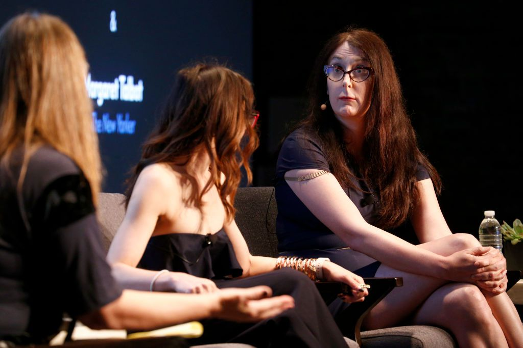 Software Engineer and Democratic Candidate for Congress Brianna Wu speaks to attorney Carrie Goldberg onstage during the 2017 New Yorker TechFest