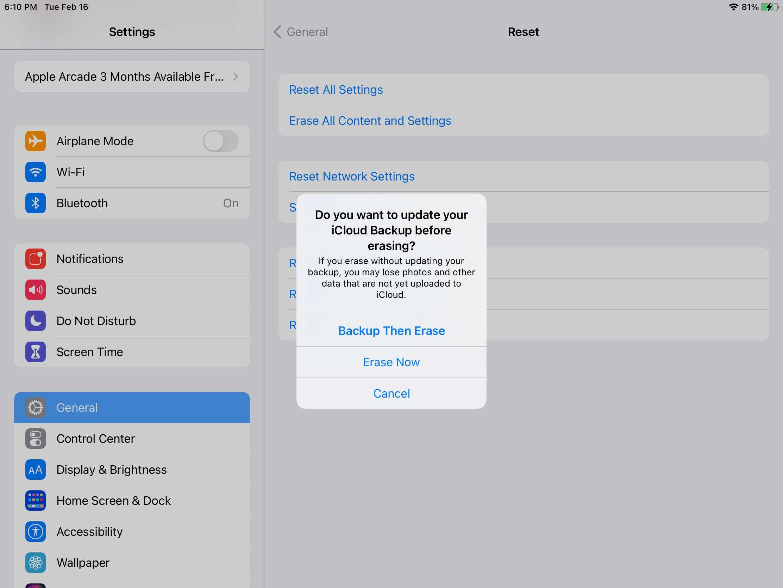 iCloud Backup options on an iPad