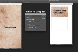 the original image, the Pattern Fill dialog box and a selection filled with a pattern are shown.