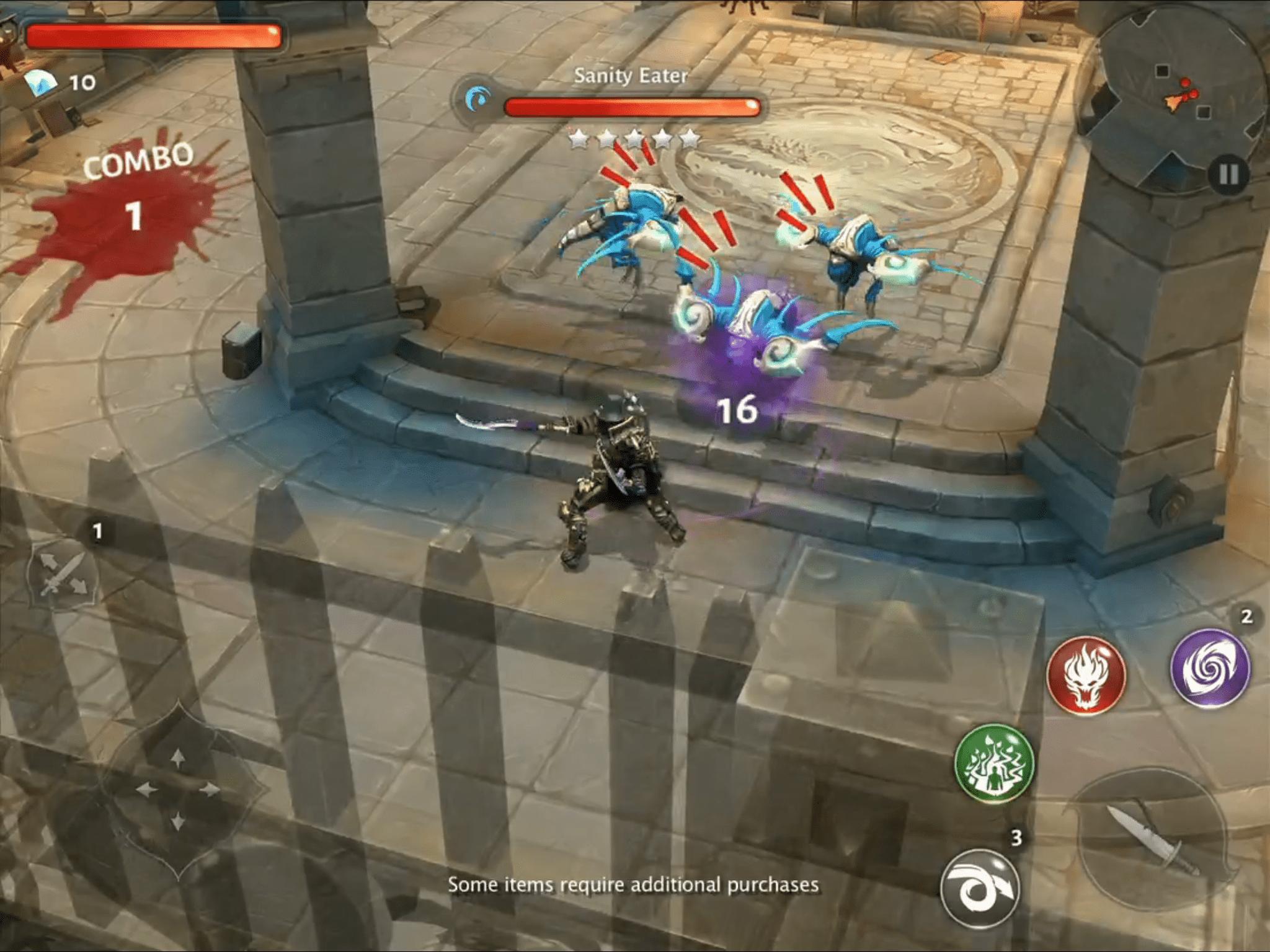 Dungeon Hunter 5 battle scene with score