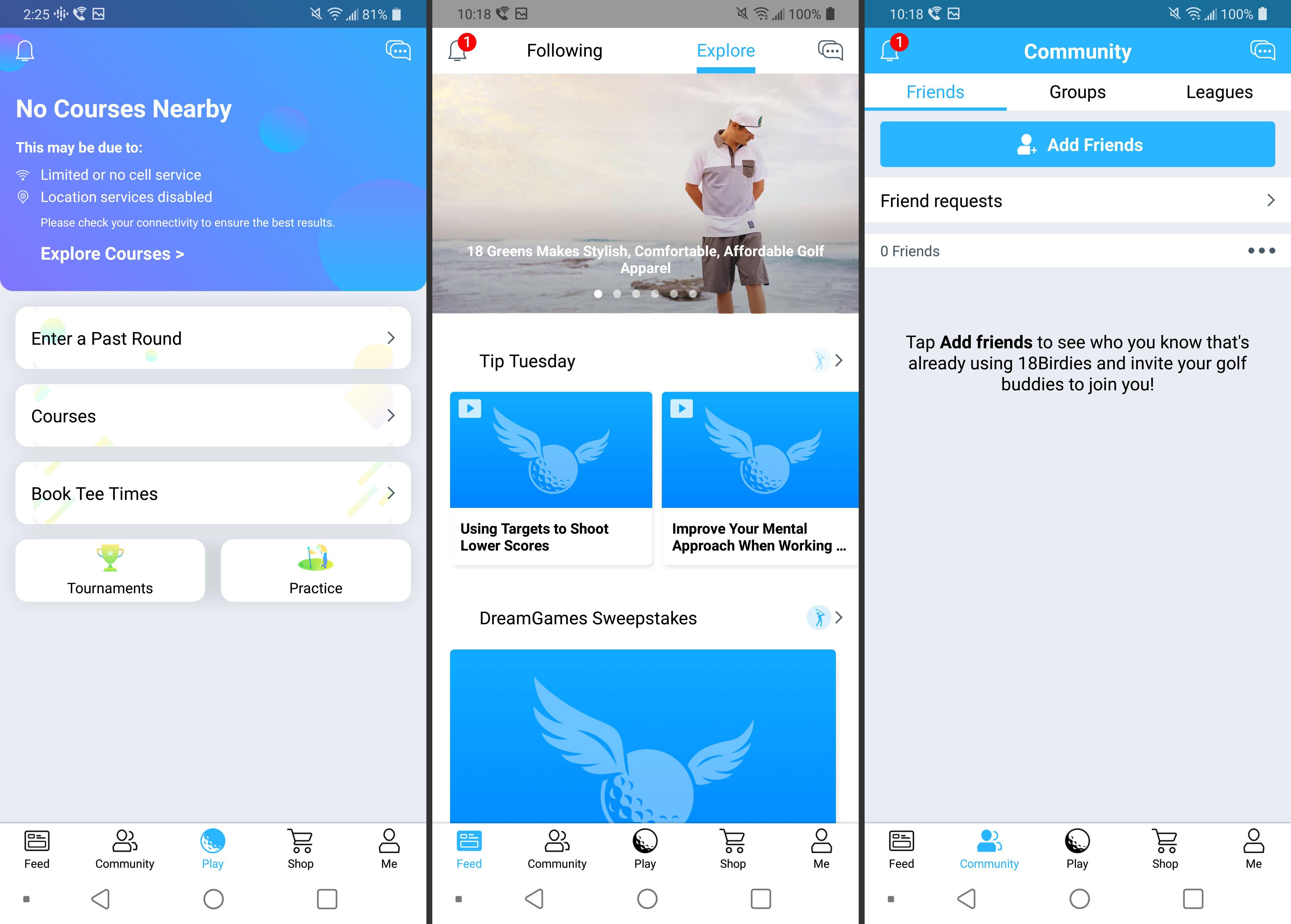 18 Birdies app screenshots