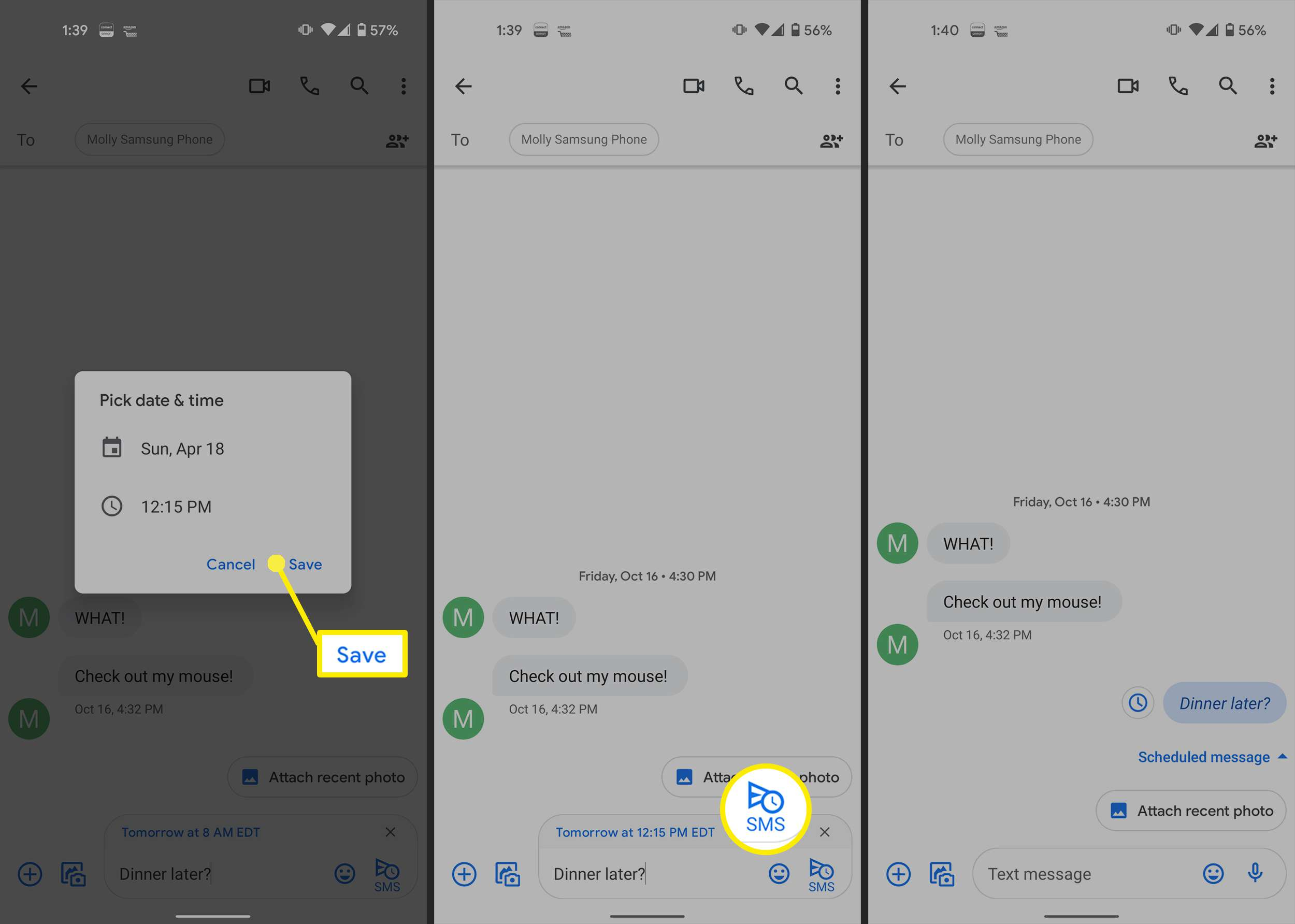 Scheduling a text in Google Messages.