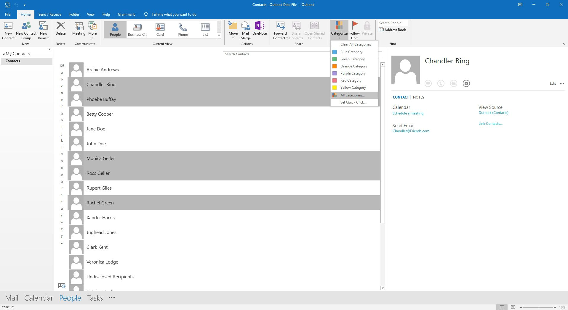 Selecting all categories in Outlook contacts