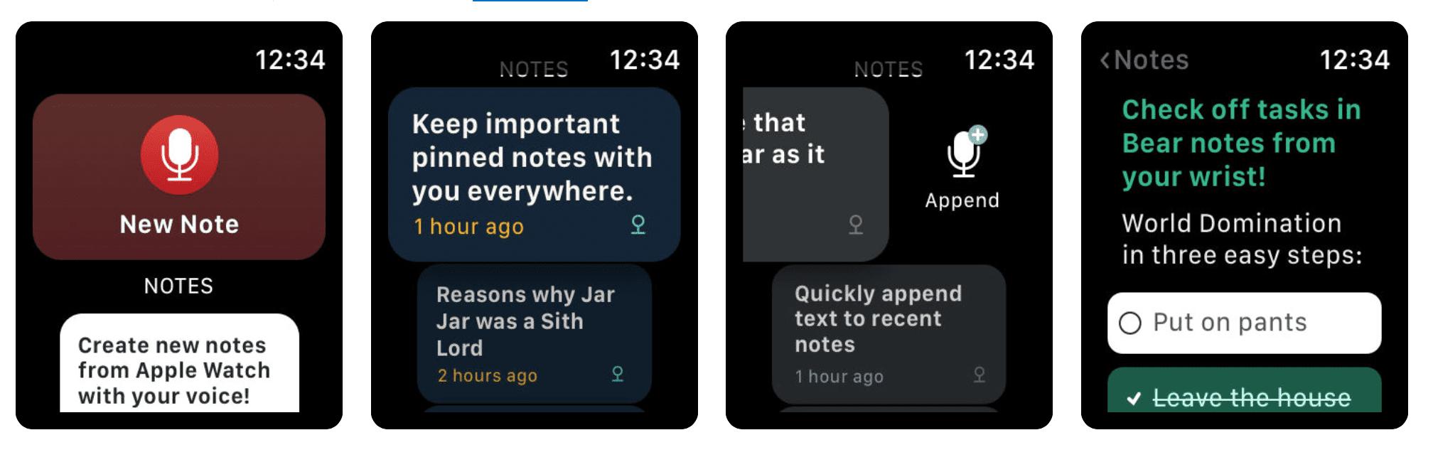 bear notes Apple Watch complication screenshot