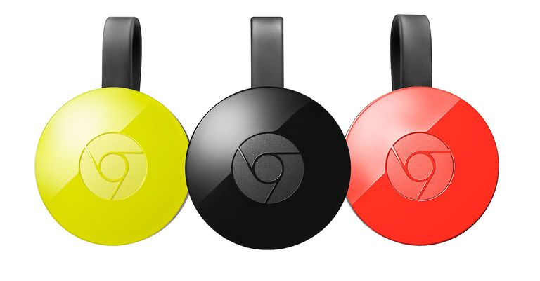 Three second-generation Chromecast digital media players shown in available colors of canary yellow, black, and tomato red.