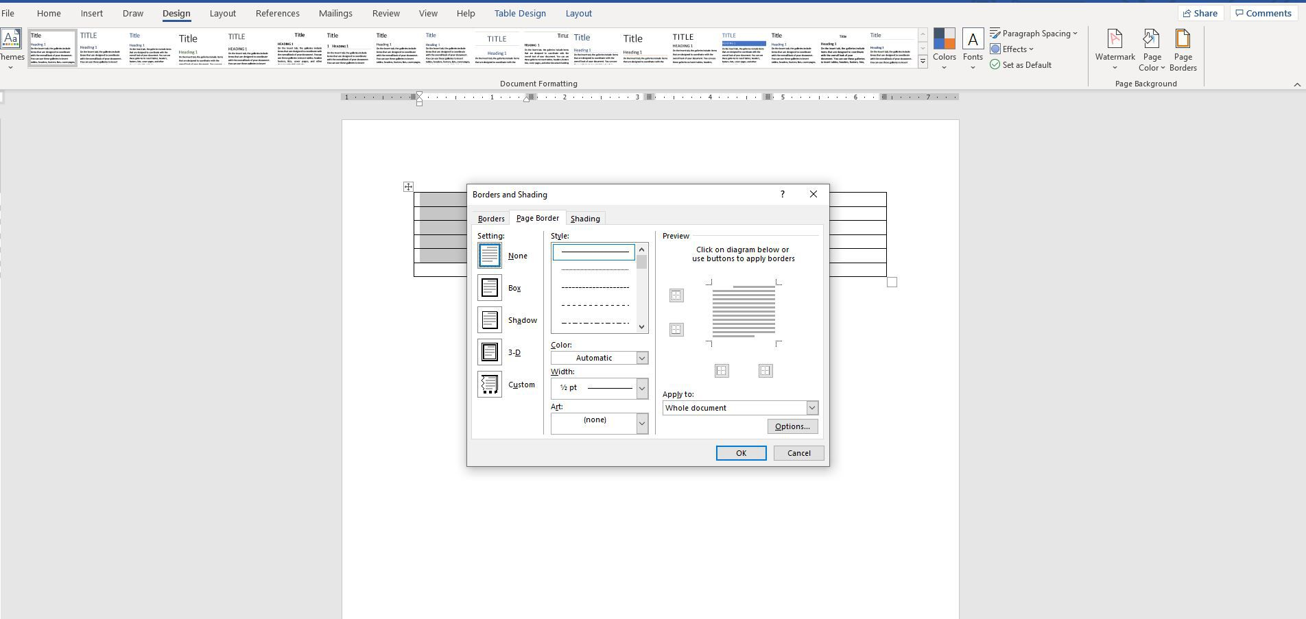 Screenshot of Page Borders in Page Background group of Design tab