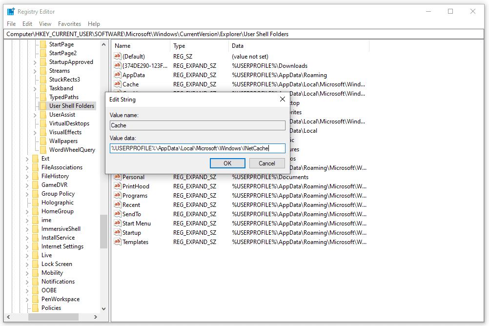 User Shell Folders Cache registry entry in Windows 10