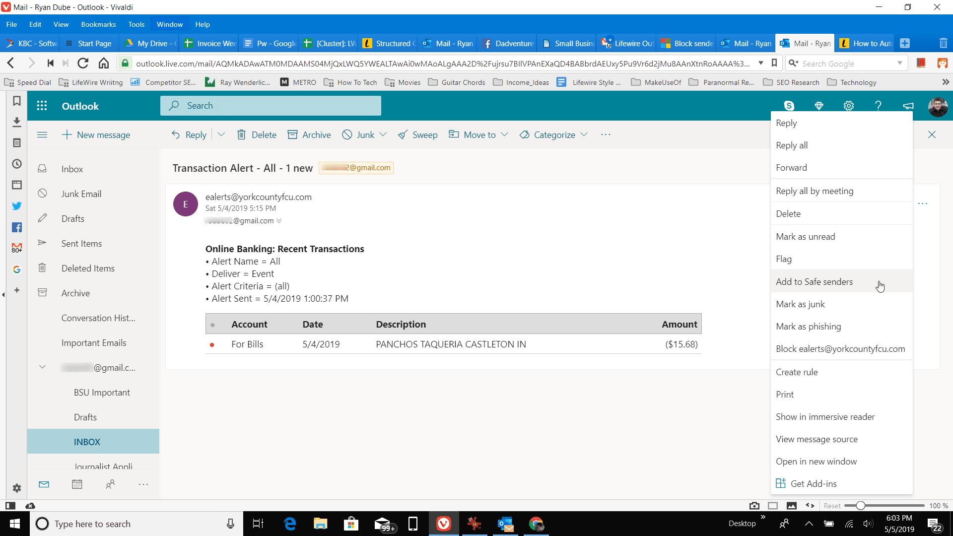 Screenshot of Add to Safe senders in Outlook online